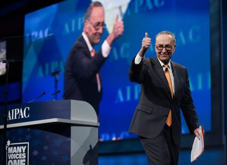 Democrat Charles Schumer, Senate minority leader, at AIPAC on Tuesday.