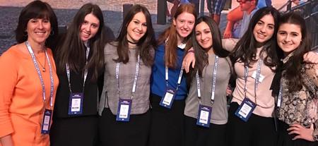 From Stella K Abraham High School (from left): Judaic studies teacher Tamar Bindiger with students Talia Wein, Ayelet Klahr, Leora Fenster, Mimi Leifer, Emma Greenbaum and Sarah Kurtz.