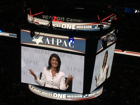 "Ambassador Nikki Haley told AIPAC in March: ""Anyone who says you can't get anything done at the United Nations, you need to know there's a new sheriff in town."""