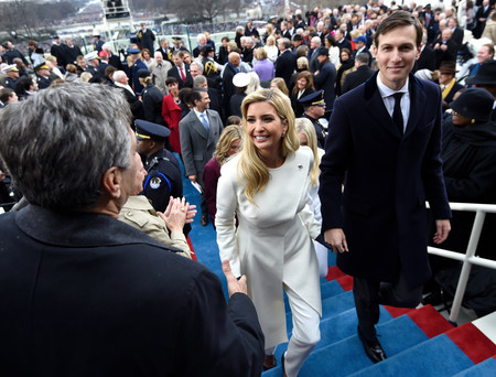 Ivanka Trump and husband Jared Kushner leave after the Presidential Inauguration at the US Capitol on Jan. 20.
