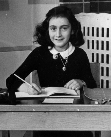 Anne Frank at school in 1940.