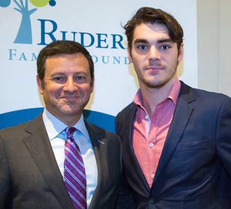 """Jay Ruderman, left, with R.J. Mitte, an actor with cerebral palsy who starred on the hit TV show """"Breaking Bad."""""""