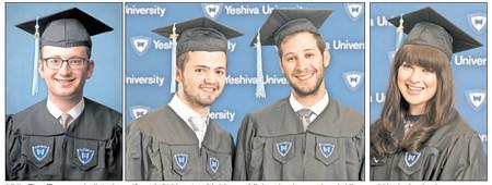 YU's Five Towns valedictorians (from left) Yonatan Mehlman, Mickey Levinson, Jacob Klar, and Kayla Axelrod.