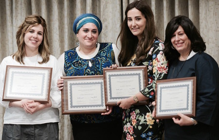 Some of the Chesed Leadership Program alums (from left): Yitty Fisch of Kapayim, Chaya Travis of Sephardic Bikur Cholim, Allison Josephs of Jew in the City, and Leba Schwebel of the Amatz Initiative.