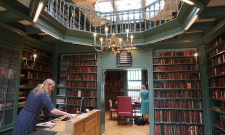 A researcher working at the Ets Haim Jewish library in Amsterdam.