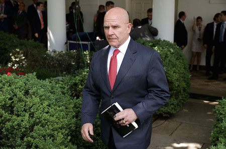 White House National Security Advisor H.R. McMaster walks into the Rose Garden at the White House on June 1, 2017.