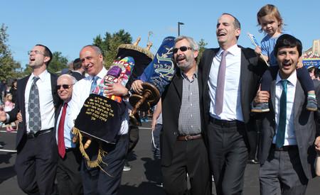From left: Rabbi Yaakov Trump of YI Lawrence-Cedarhurst; Marvin Shenker, executive director of YILC; Dr. Mott Weitz; Dr. Herbert Pasternak; HALB Board Chair Lance Hirt; and Rabbi Aaron Fleksher of HALB.