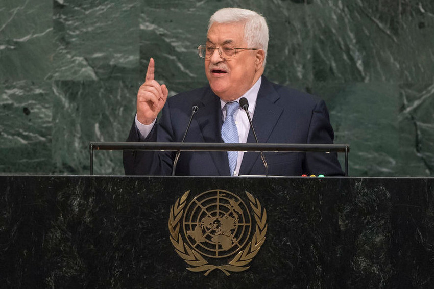 Palestinian Authority leader Mahmoud Abbas addresses the general debate of the UN General Assembly on Sept. 20, 2017.