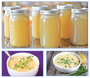 Top: Chicken Bone Broth. Bottom left: Chicken and Garlic Soup. Bottom right: Creamy Leek and Potato Soup with Shallots and Chives