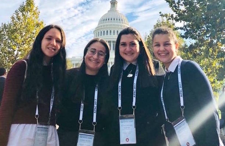 From Midreshet Shalhevet to the Capitol, from left: Sarah Spielman of Queens, Sarah Austin of Long Beach, Aviva Marmer of Brooklyn, Nava Yastrab of Woodmere.