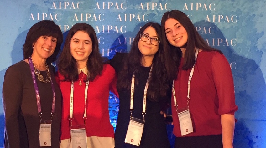 Pictured at AIPAC's summit, from left: Mrs. Tamar Bindiger, Shifra Cohen, Aliyah Tanami and Jaclyn Korman.