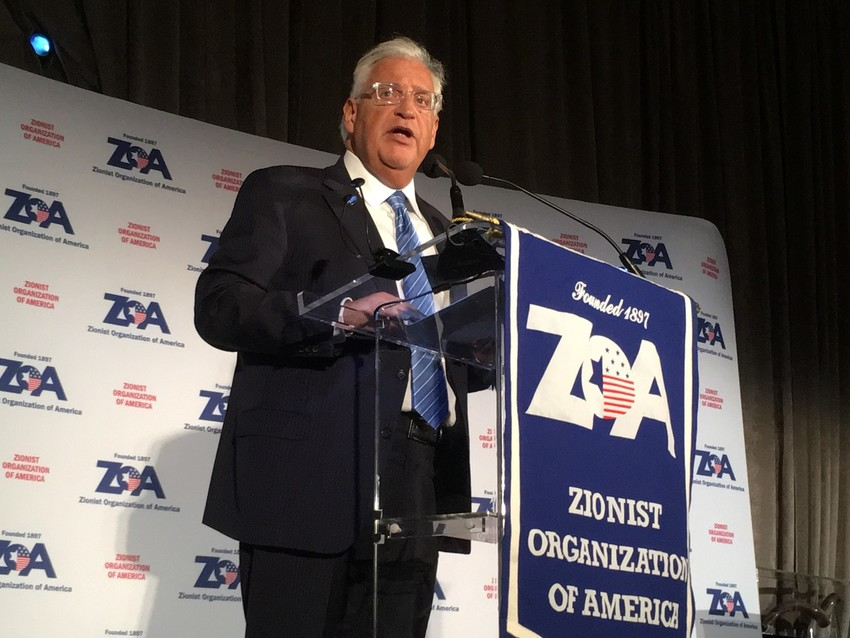U.S. Ambassador to Israel David Friedman, a resident of the Five Towns community of Woodsburgh, addresses the ZOA gala.