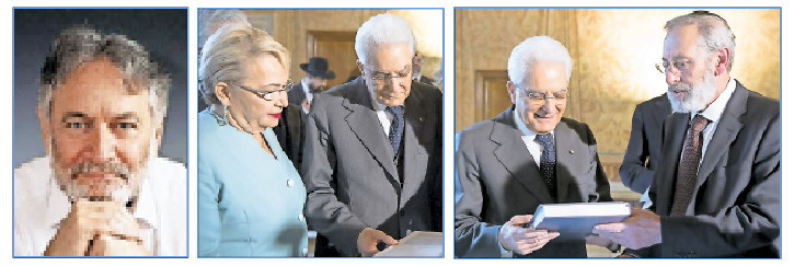 Italian President Sergio Mattarella receives the first volume of the Babylonian Talmud translated into Italian, from the Professor Clelia Piperno and the Chief Rabbi of Rome, Riccardo Di Segni (at right). At left: Rabbi Jeremy Rosen.