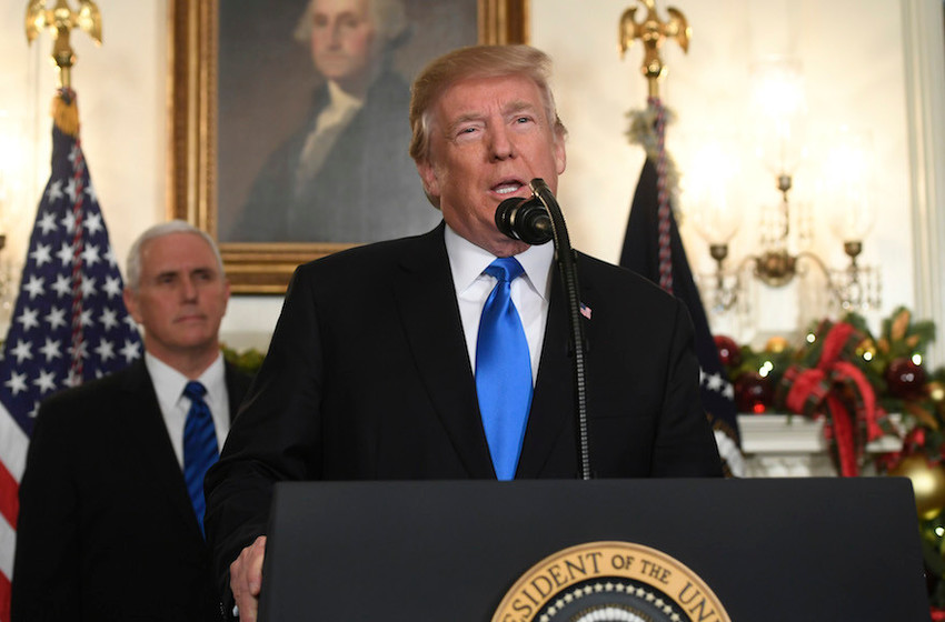 President Donald Trump delivers his Jerusalem speech from the Diplomatic Reception Room of the White House on Dec. 6, as Vice President Mike Pence looks on.