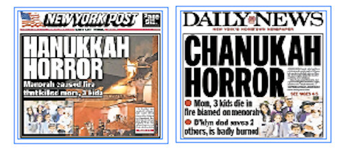 On Tuesday, New York tabloids featured coverage of Monday morning's tragedy.