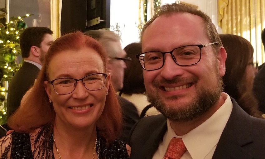 David Kaufman and his wife Julie, at the White House Chanukah Chanukah party on Dec. 7.