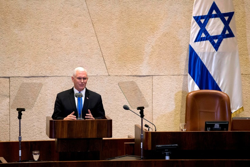Vice President Mike Pence speaking to the Israeli parliament in Jerusalem on Monday.