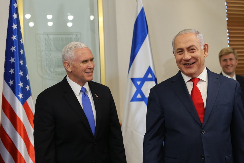 Vice President Mike Pence is welcomed by Prime Minister Netanyahu at the PM'S office in Jerusalem on Jan. 22.