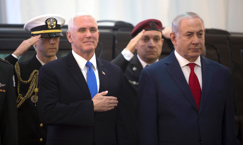 Vice President Mike Pence with Prime Minister Benjamin Netanyahu at the prime minister's office  on Jan. 22.