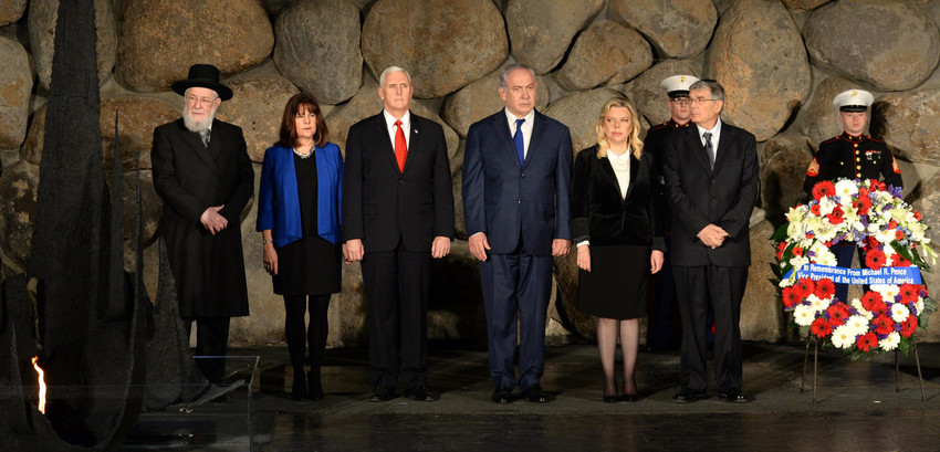 Vice President Mike Pence at the Yad Vashem Holocaust memorial during his trip to Israel.