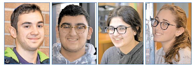 Honored at the most recent assembly, from left: 12th grader Jordan Ehrenhaus,10th grader Aaron Afrahim, 11th grader Sharona Kataev, and 9th Grader Lilah Dublin.