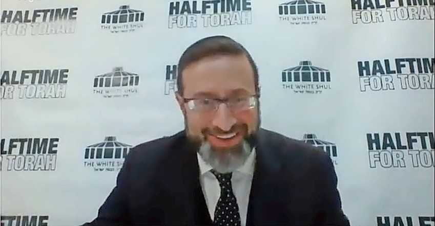 Rabbi Feiner during his halftime shiur on the White Shul website.