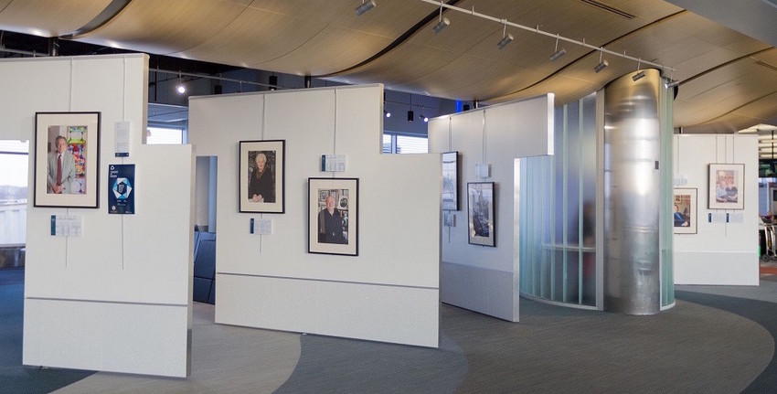 """Part of the """"Transfer of Memory"""" portrait display at the Minneapolis-Saint Paul International Airport."""