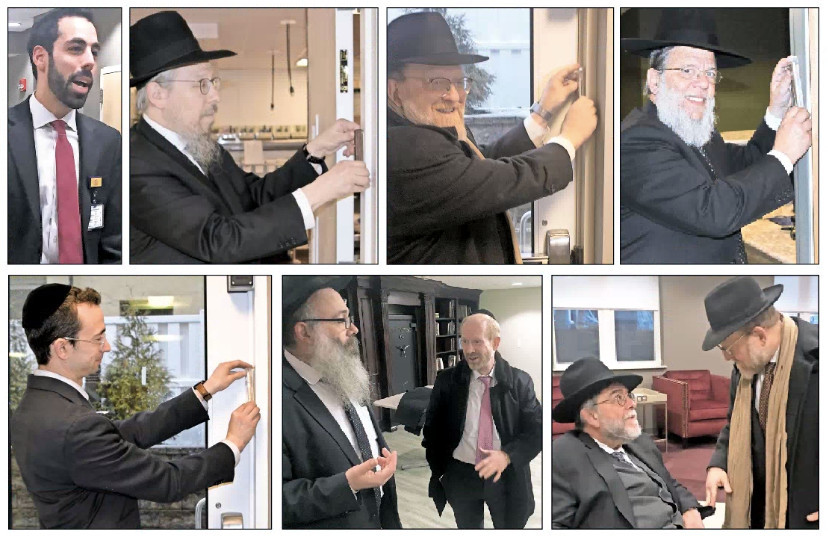 Local rabbis visited the Five Towns Premier Rehabilitation and Nursing Center last week, touring the facility and affixing mezuzot. Above from left: Center administrator Elie Pollock; Rabbi Yosef Eisen of the Vaad HaKashrus of the Five Towns and Far Rockaway; Rabbi Hershy Blumstein of the Young Israel of Hewlett; and Rabbi Mordechai Kamenetsky of the Yeshiva of South Shore. Below from left: Rabbi Yaakov Trump of the Young Israel of Lawrence-Cedarhurst; Rabbi Zalman Wolowik of Chabad of the Five Towns with one of the center's principals, Ben Philipson; and Rabbi Simcha Lefkowitz of Congregation Anshei Chesed in Hewlett with Rabbi Blumstein.