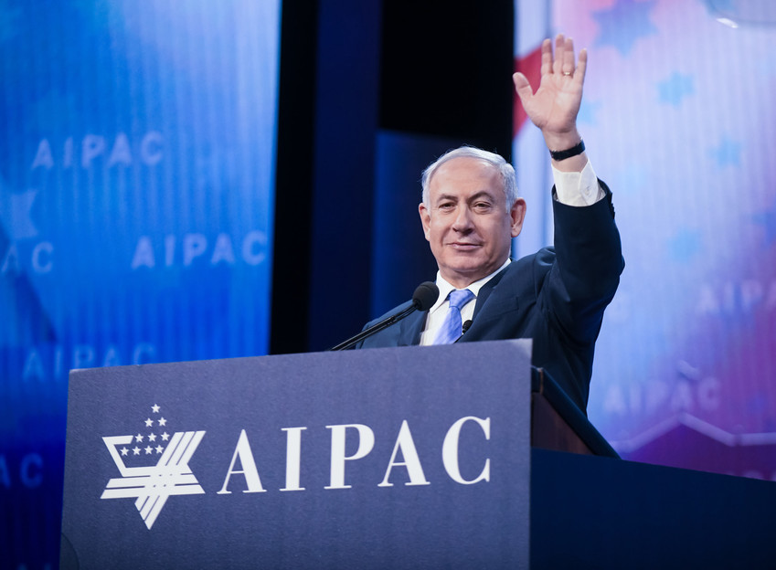 Israeli Prime Minister Benjamin Netanyahu speaks at the AIPAC Policy Conference on March 6, 2018.