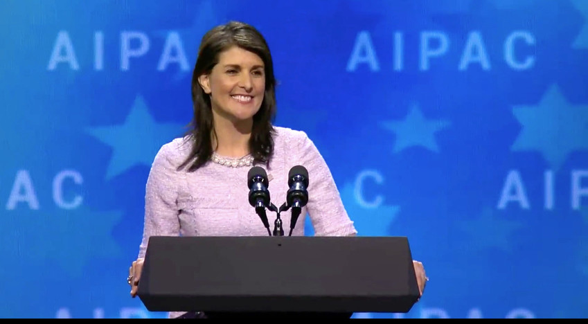 Nikki Haley addresses an AIPAC Policy Conference.