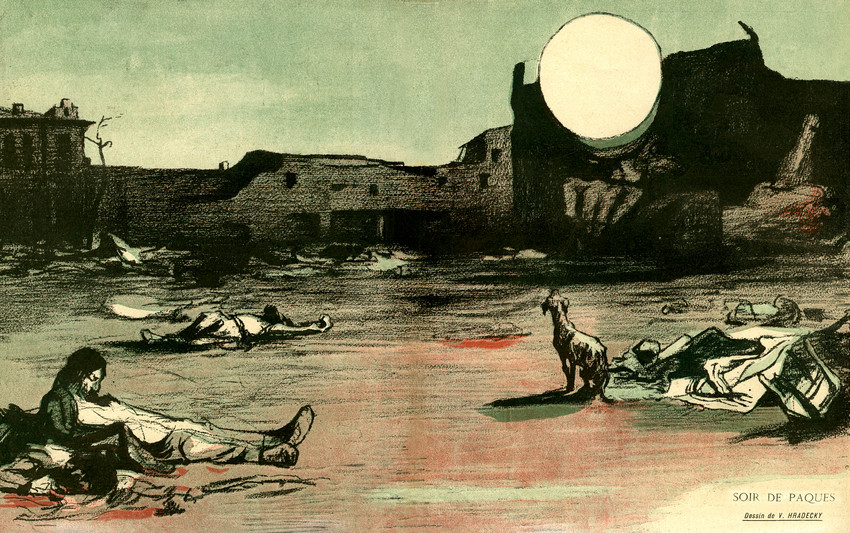Aftermath of the April 1903 Kishinev massacre, published in L'Assiette au Beurre The Crimes of Tsarism and the massacres of Kishinev/Chisinau.
