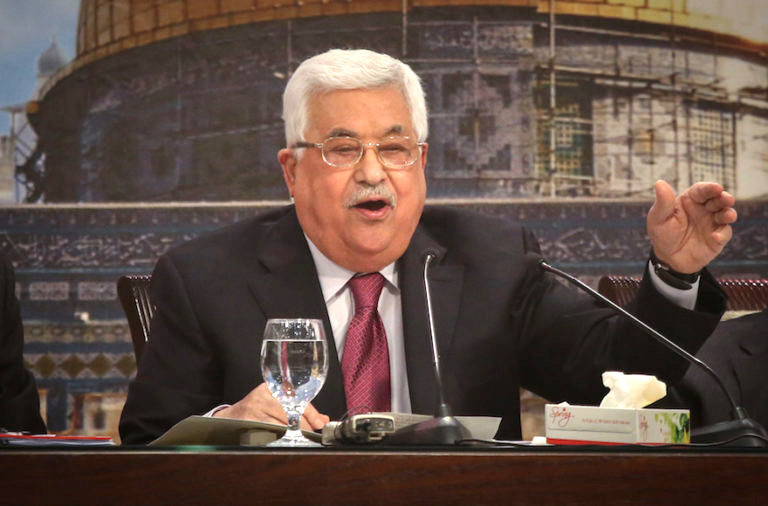 Palestinian President Mahmoud Abbas addresses the Palestinian National Council 23rd opening session in Ramallah on April 30.