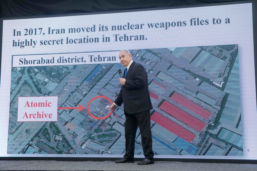 Prime Minister Benjamin Netanyahu exposes files that prove Iran's nuclear program, in a press conference at the Kirya government headquarters in Tel Aviv on April 30.
