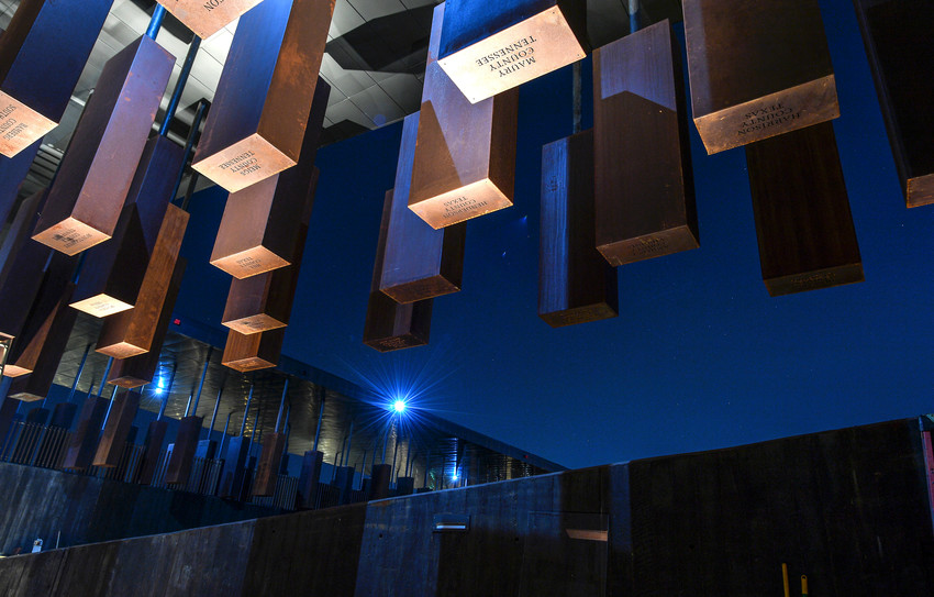 The names of lynching victims are inscribed on corten steel monuments at the National Memorial for Peace and Justice in Montgomery, Ala.
