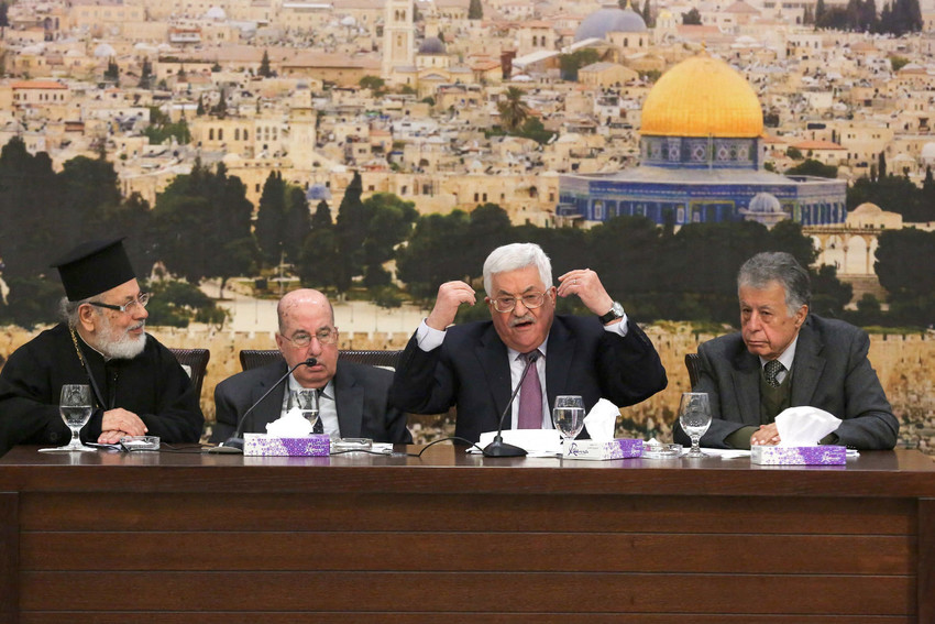 Palestinian President Mahmoud Abbas (Abu Mazen) speaks during a meeting with members of the Central Committee in Ramallah on Jan. 14.