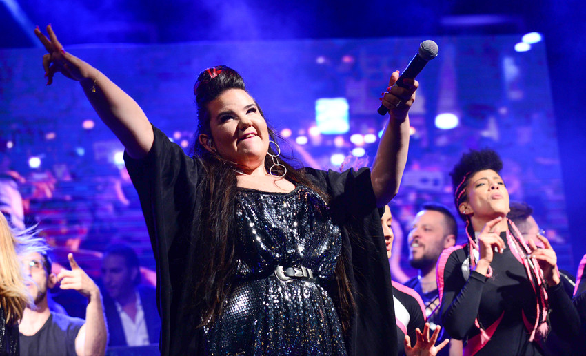 Winner of the eurovision 2018 song contest Netta Barzilai preforms at Rabin Square in Tel Aviv on May 14.