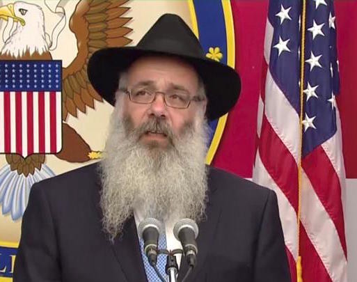 Chabad of the Five Towns Rabbi Zalman Wolowik, speaking at the opening of the U.S. Embassy in Jerusalem.