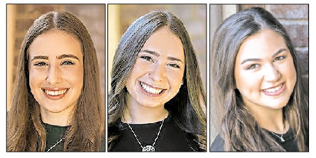 From left: Valedictorian Eyelet Aharona, Sallutatorian Shoshana Rockoff, and Keter Shem Tov award recipient Aliza Rothman.