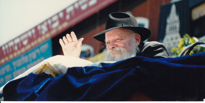 Rabbi Menachem Mendel Scheerson, the Lubavitcher Rebbe, at Brooklyn's Lag BaOmer parade in 1987.