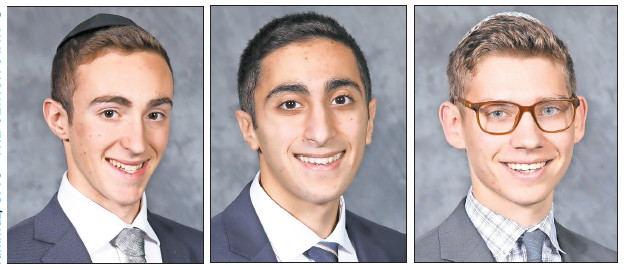 L-R: Co-valedictorian Akiva Schuck, co-valedictorian Michael Akhavan, and salutatorian Doniel Fodiman