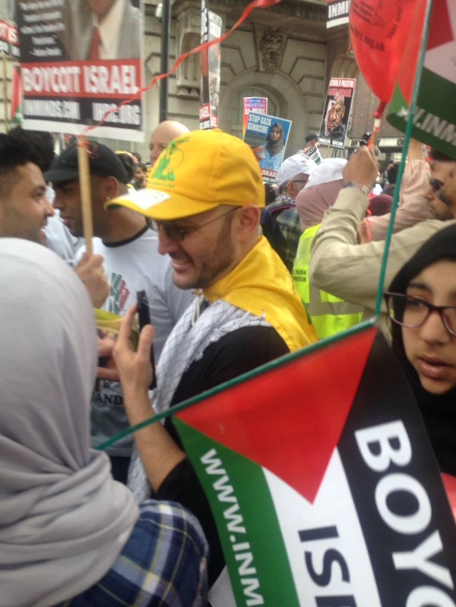 The latest in Jew-hating chic: a Hezbollah baseball cap at an Al-Quds Day demonstration in London.