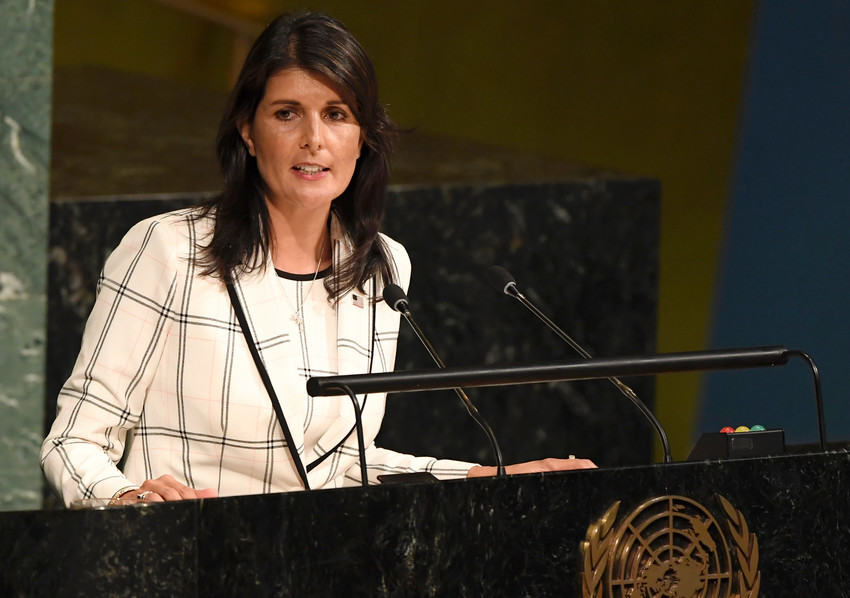 "US Ambassador Nikki Haley addresses the 10th emergency special session of the United Nations General Assembly on ""Illegal Israeli actions in Occupied East Jerusalem and the rest of the Occupied Palestinian Territory."""