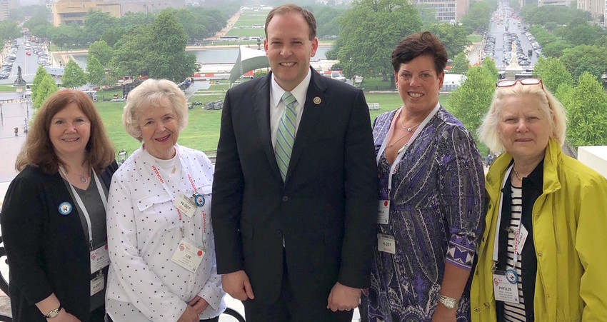 With Rep. Lee Zeldin (R-NY) in Washington D.C., from left: Hadassah Suffolk Region President Stacy Berman and members Lee Pinchuk, Pamela Diamond, and Phyllis Abramson.