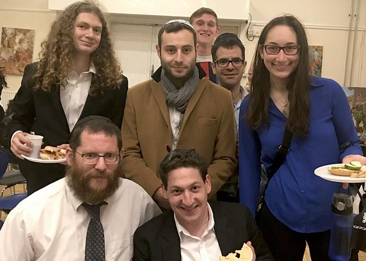 Visitors to Chabad Copenhagen flank Rabbi Yitzi Loewenthal, front left, in 2015.