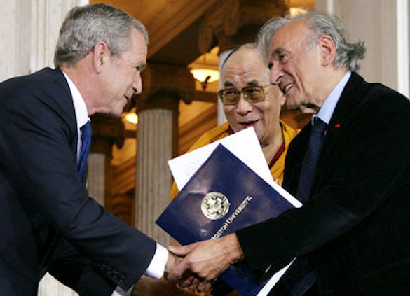 President George W. Bush with Elie Wiesel and the Dalai Lama at the Capitol in 2007.