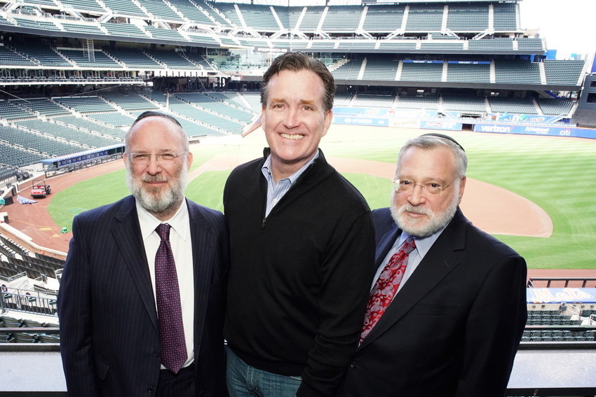 At OU event in CitiField in April, from left:  OU President Moishe Bane, state Sen. Maj. Leader John Flanagan, and OU Vice President Allen Fagin.