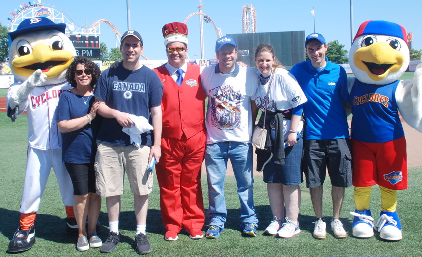 From left: Sandy the Sea Gull, Kulanu Director of Social Services Amy Eisenberg, Tzvi L, MC King Henry, Jordan Scharf, Melissa S, Chris Reide, and Pee Wee.