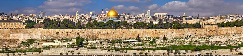 Panorama of East Jerusalem, view of the Old City and holy places of Judaism, Christianity and Islam: Temple Mount, Kotel, Church of the Holy Sepulcher, Al-Aqsa Mosque and Dome of the Rock, Israel.