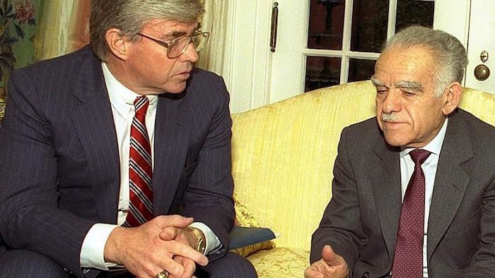 Jack Kemp with Israeli Prime Minister Yitzhak Shamir.