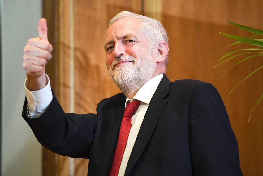British Labour leader Jeremy Corbyn at Queens University in Belfast, Northern Ireland, on May 24, 2018.